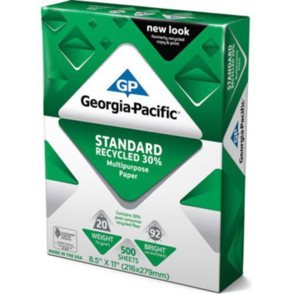 Georgia Pacific Standard Recycled Multipurpose Paper 92 Bright 500 Sheets, 8.5 X 11