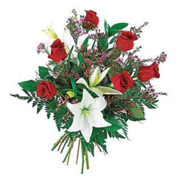 Flowers By Design Hand Tied Standard Roses With Lily Bouquet