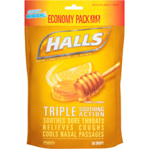 Halls Honey-Lemon Menthol Drops Cough Suppressant