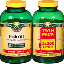 Spring Valley Fish Oil Dietary Supplement Softgels (Pack of 2)