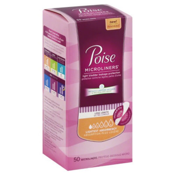 Poise Lightest Absorbency Long Length Incontinence Microliners