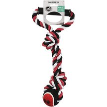 Pet Champion 2 Knot Medium Dog Rope Toy with Ball & Handle