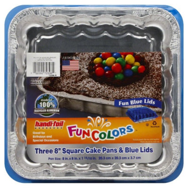 Handi-Foil Fun Colors Square Cake Pans with Blue Lids (8 in x 8 in)