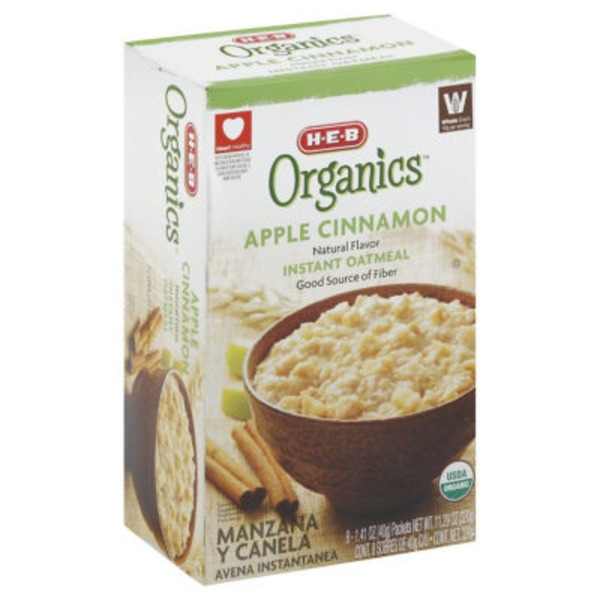 H-E-B Organcis Apple Cinnamon Natural Flavor Instant Oatmeal