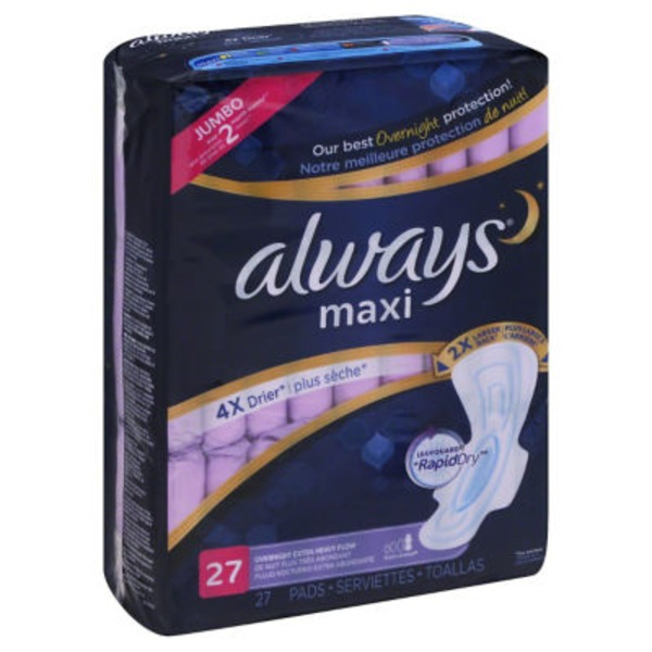 Always Maxi Always Maxi Size 5 Extra Heavy Overnight Pads with Wings, Unscented, 27 Count Feminine Care