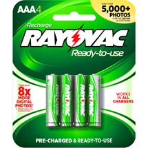 Rayovac Pre-charged Rechargeable NiMH AAA Batteries