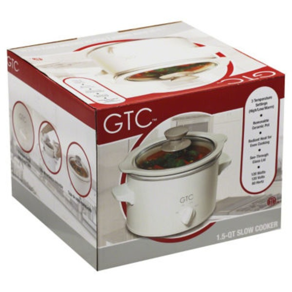 GTC White 1.5 Quart Slow Cooker