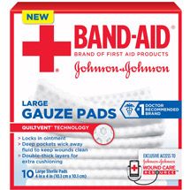 Band-Aid Brand Large Gauze Pads 4 Inch by 4 Inch