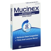 Mucinex® Expectorant 12 Hour Extended Release Tablets, 600 mg Guaifenesin with Extended Relief of Chest Congestion Caused by Excess Mucus. Thins and Loosens Mucus