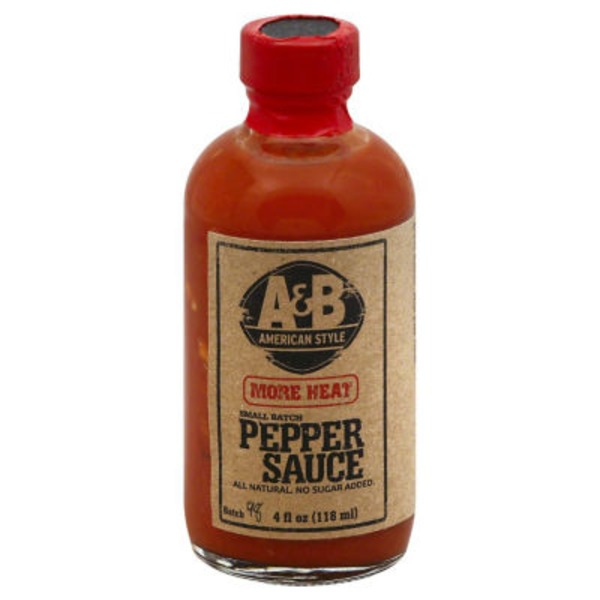 A & B American Style Pepper Sauce, More Heat, Bottle