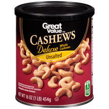 Great Value Unsalted Deluxe Cashews
