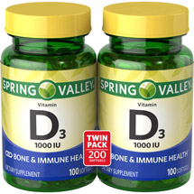 Spring Valley High-Potency D Dietary Supplement Softgels 1000 IU (Pack of 2)