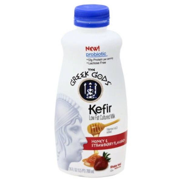 The Greek Gods Kefir Low Fat Cultured Milk Honey & Strawberry Flavored