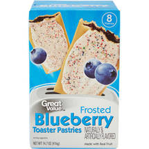 Great Value Frosted Blueberry Toaster Pastries 8 Ct/14.6 Oz