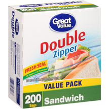 Great Value Double Zipper Sandwich Bags