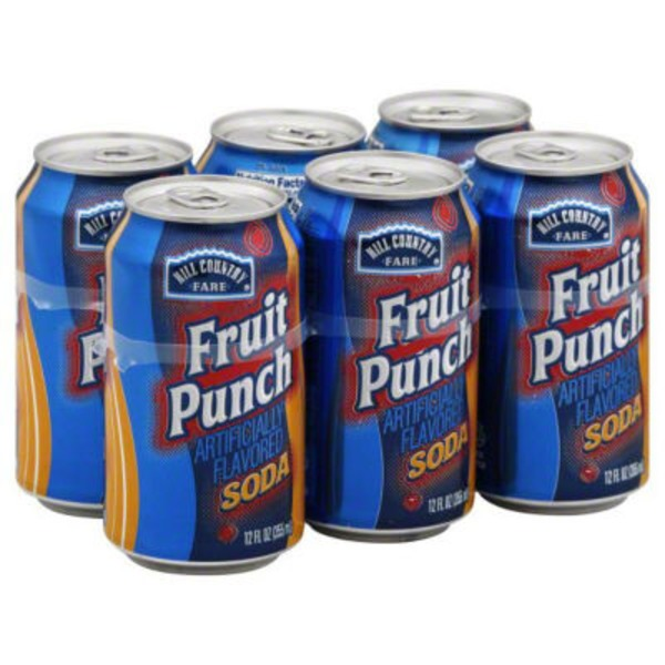 Hill Country Fare Fruit Punch Soda Cans