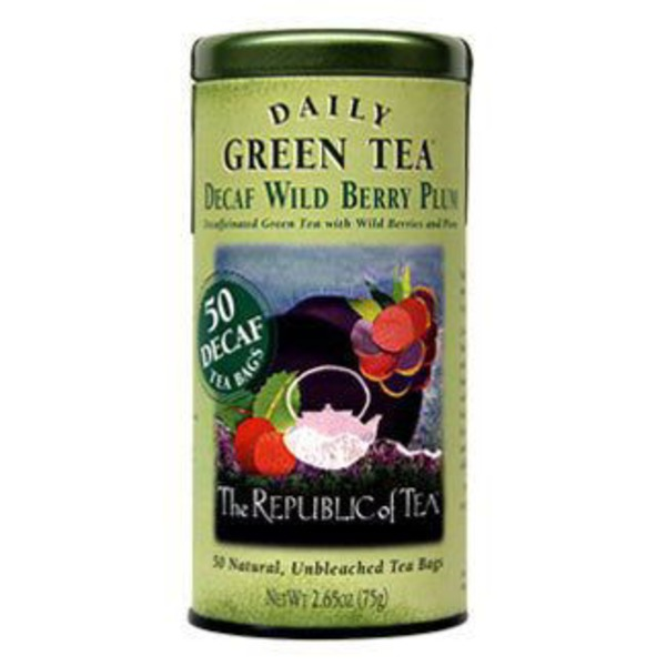 The Republic of Tea Decaf Daily Green Tea Wild Berry Plum