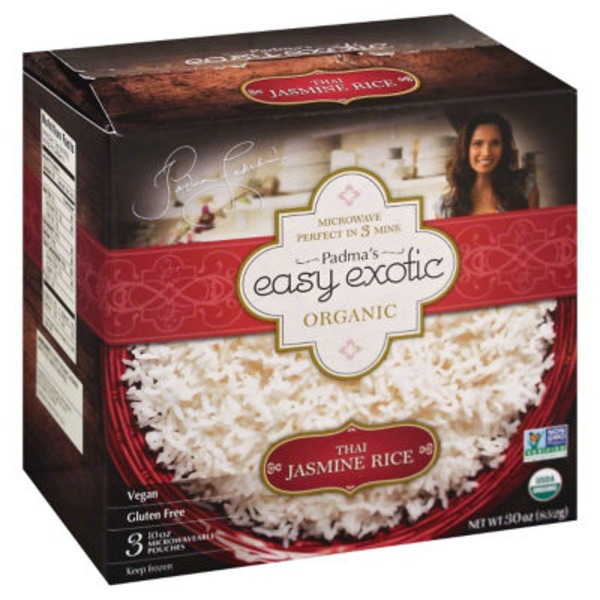 Padma's Easy Exotic Organic Microwaveable Pouches Jasmine Rice Thai