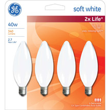 GE soft white 40 watt bent tip