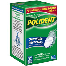 Polident Overnight Whitening Antibacterial Denture Cleanser