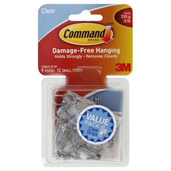 3m Command Brand Clear Hooks Holds .5 LB  - 9 CT