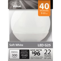 Great Value LED Soft White Globe Light Bulb LED G25