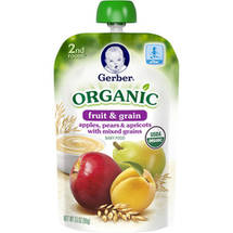 Gerber 2nd Foods Organic Fruit & Grain Apples Pears ; Apricots with Mixed Grains Baby Food