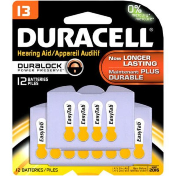 Duracell Size 13 Long-Lasting Hearing Aid Batteries 12 Count Specialty Batteries
