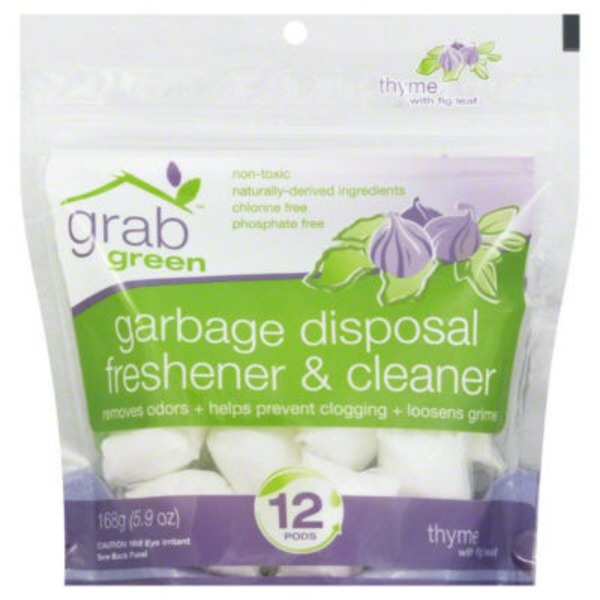 Grab Green Garbage Disposal Freshener & Cleaner Pods Thyme With Fig Leaf - 12 CT