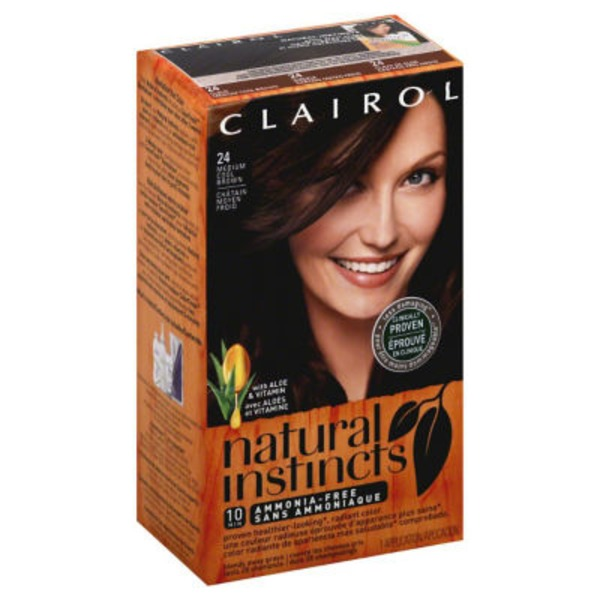 Clairol Natural Instincts, 5A / 24 Clove Medium Cool Brown, Semi-Permanent Hair Color, 1 Kit Female Hair Color