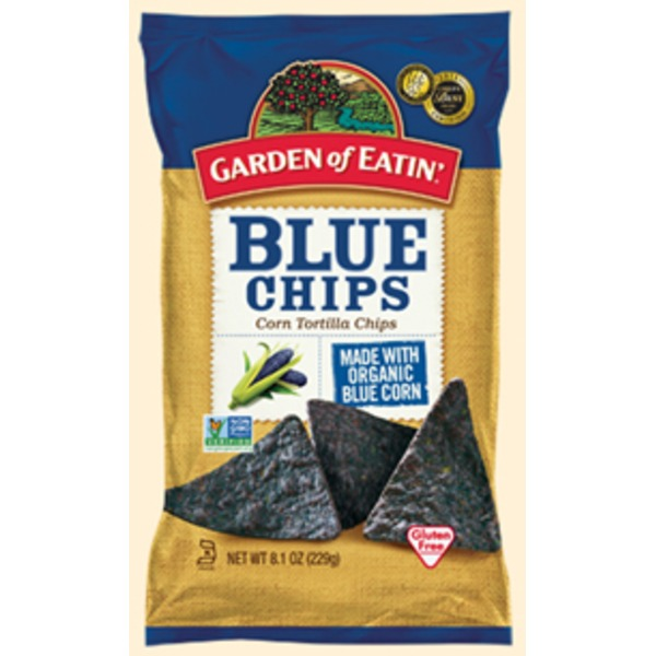 Garden of Eatin Tortilla Chips, Corn, Blue Chips, with Sea Salt