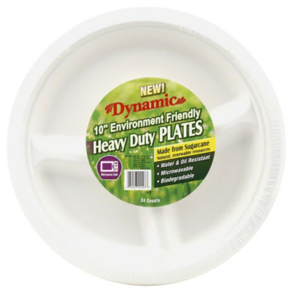 Dynamic 10 In 3 Compartment Biodegradable Plates