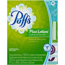 Puffs Plus Lotion Facial Tissues 3 Family Boxes 124 Tissues per Box