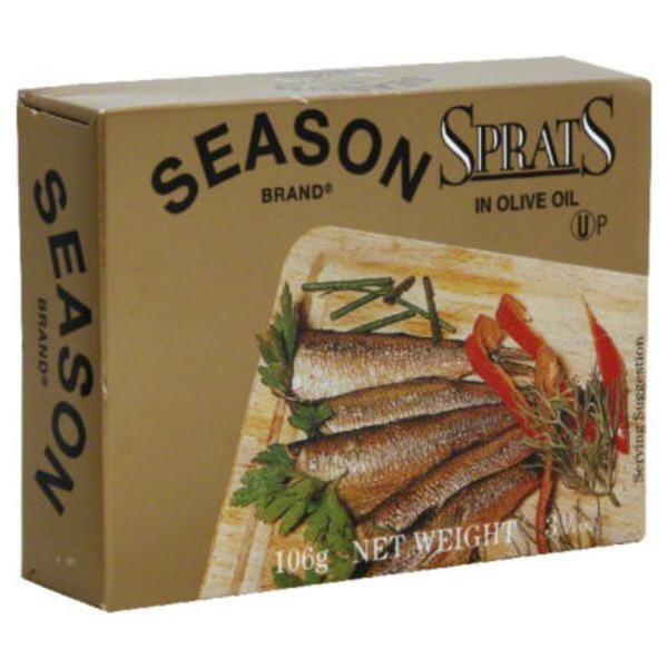 Season Sprats, Lightly Smoked, in Olive Oil,