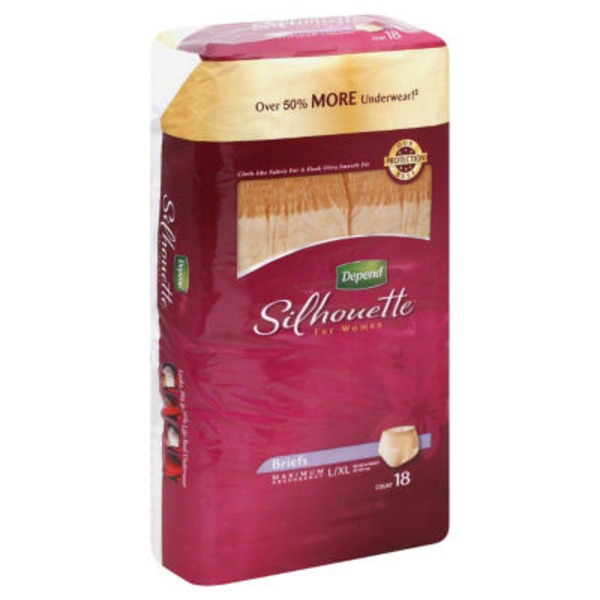 Depend Silhouette for Women Maximum Absorbency L/XL  Briefs