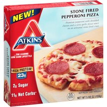 Atkins Stone Fired Pepperoni Pizza Frozen Meal