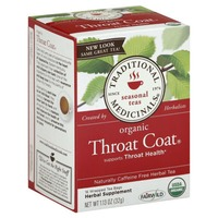 Traditional Medicinals Caffeine Free Seasonal Herbal Tea Bags Throat Coat - 16 CT