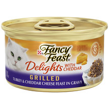 Fancy Feast Wet Cat Food Delights Grilled Turkey and Cheddar Cheese Feast in Gravy