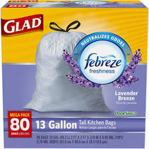 Glad OdorShield Tall Kitchen Drawstring Trash Bags Lavender