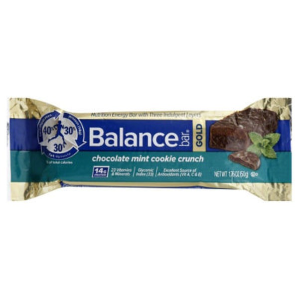 Balance Bar Gold Nutrition Energy Bar Chocolate Mint Cookie Crunch