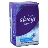 Always Xtra Protection Always Thin Dailies Unscented Wrapped Liners 60 Count Feminine Care