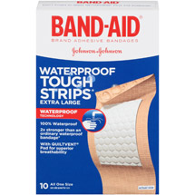 Band-Aid Brand Adhesive Bandages Tough-Strips Extra Large Waterproof All One Size 10 ct.