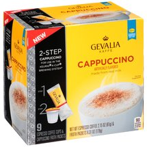 Gevalia Cappuccino Espresso Coffee Cups & Froth Packets