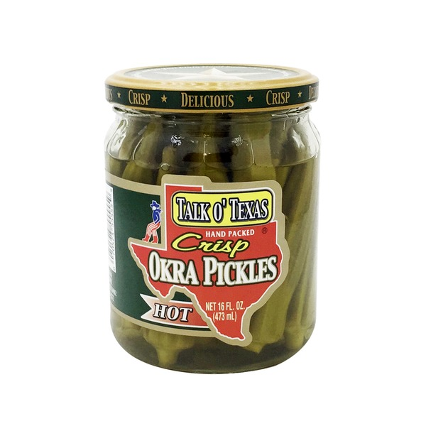 Talk O Texas Pickles, Okra, Crisp, Hot