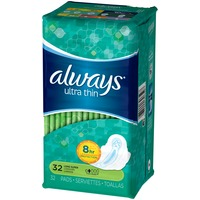 Always Thin Ultra Always Ultra Thin Size 2 Long Super Pads With Wings, Unscented, 32 count Feminine Care