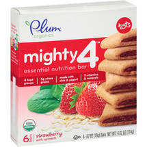Plum Organics Mighty 4 Tots Strawberry with Spinach Essential Nutrition Bars