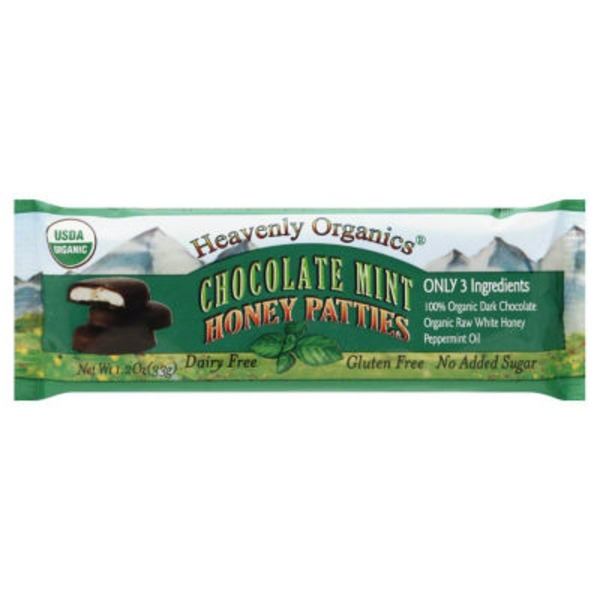 Heavenly Organics Honey Patties, Chocolate Mint