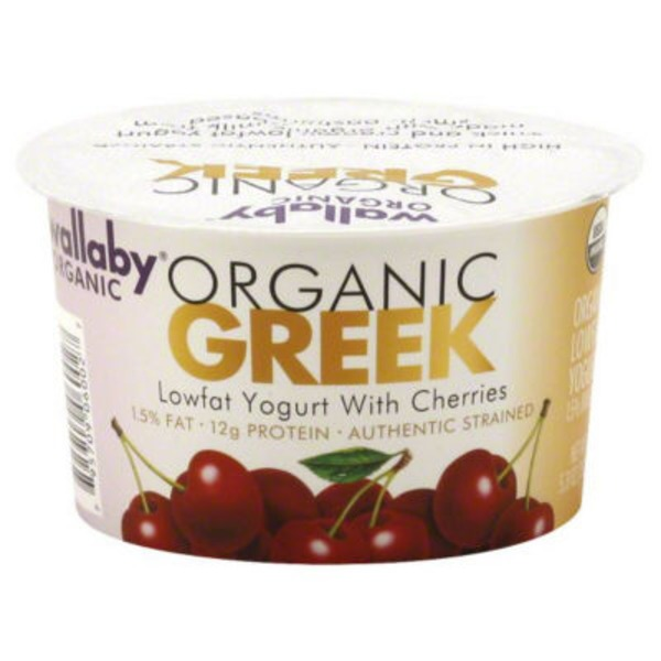 Wallaby Organic Greek Lowfat with Cherries Yogurt