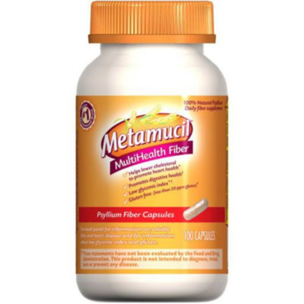 Metamucil Multi-Health Fiber Capsules by Meta, 100 capsule bottle Laxative
