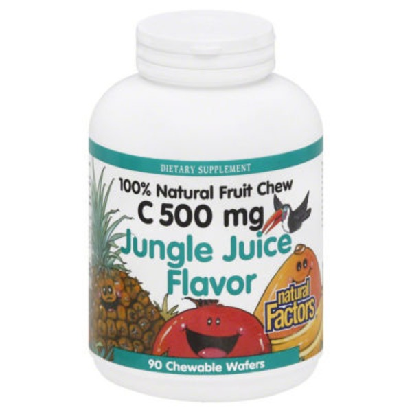 Natural Factors Vitamin C, 500 mg, Chewable Wafers, Jungle Juice Flavor